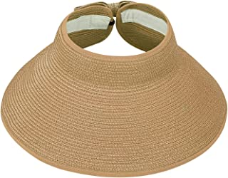 HDE Women UPF 50+ Packable Crushable Roll Up Wide Brim Sun Visor Beach Straw Hat