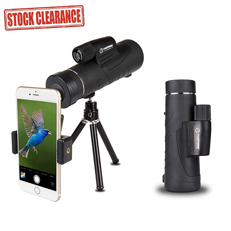 キャンプアナロググレートオークHawkeye Optics 10X42 単眼鏡 望遠鏡 - スマートフォン三脚とマウント付き高出力BAK4プリズムスコープ バードウォッチング、狩猟、ハイキング、野生動物の旅行、スポーツイベントやコンサートに最適。