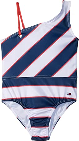 Tommy Hilfiger Kids Rugby Stripe One-Piece Swimsuit (Toddler)