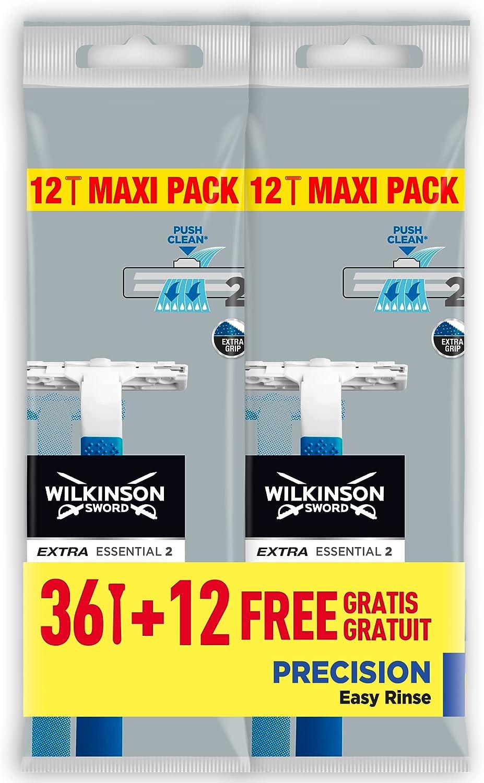 Wilkinson Extra 2 Precision - Paquete de 48 cuchillas de afeitar desechables