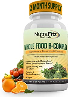 Vitamin B Complex - B Vitamins Whole Food Supplement, B12 Methylcobalamin, B1, B2, B3, B5, B6, B7, B9 - for Stress, Energy...
