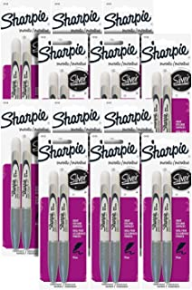 Sharpie Metallic Permanent Markers, Fine Point, Metallic Silver, Pack of 24