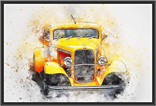 DecoDrama Vintage Yellow Car Wall Painting/Wall Art with Black Photo Frame for Living Room, Bedroom, Boys Room or Gift Ite...