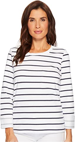 Tribal - Stripe French Terry Long Sleeve Top w/ Pocket and Lace-Up Back