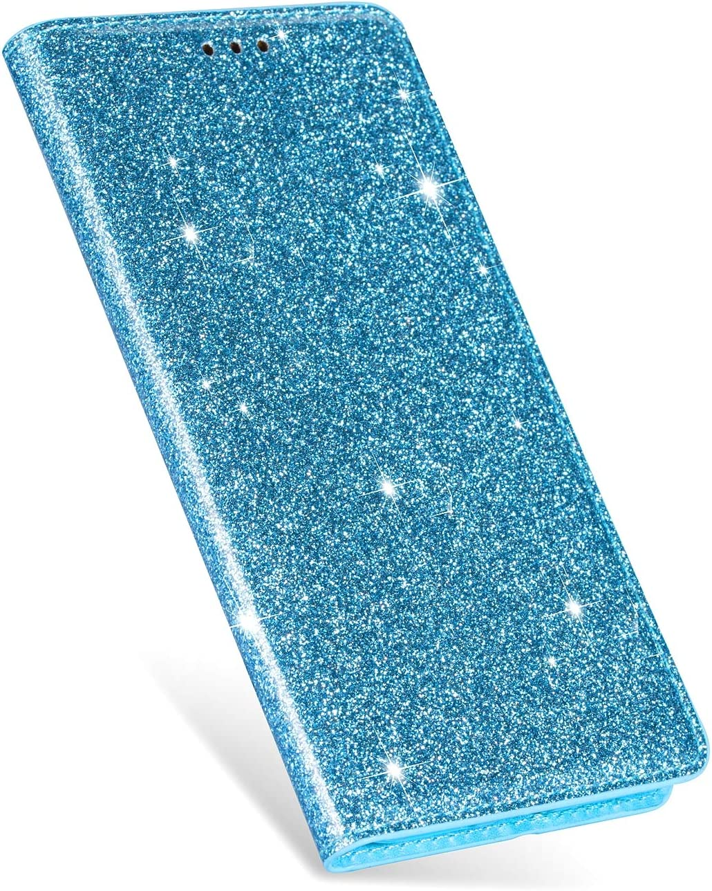 Samsung Galaxy A71 Case Glitter Solid Sparkly Wallet Flip Case for Women PU Leather Card Slots Stand Magnetic Folio Silicone Bumper Gel Shockproof Protective Phone Cover for Galaxy A71 Deep Pink
