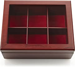 Tea Box - Luxury Wooden Tea Storage Chest from The Apace Living Premier Collection - 6 Adjustable Compartment Tea Bags Organizer Container - Elegantly Handmade w/Scratch Resistant Window