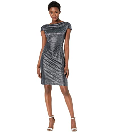 Tahari by ASL Petite Draped Neck Cap Sleeve Stretch Metallic Cocktail Dress (Navy) Women