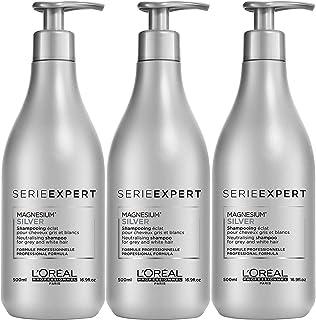 Loreal 3 Confezioni shampoo Loreal serie Expert Magnesium Silver, 500 ml