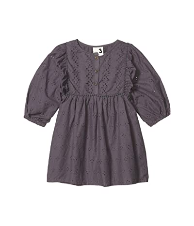 COTTON ON Goldie Long Sleeve Dress (Little Kids) (Ocean Grey Broderie) Girl