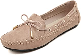 Meeshine Womens CasualBowknot Moccasins Driving Loafers Slip on Flat Shoes