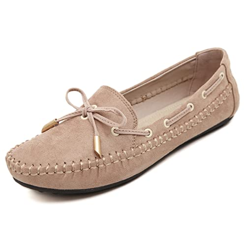 Meeshine Womens Casual Bowknot Moccasins Driving Loafers Slip on Flat Shoes