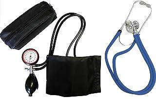 Tiga-Med - Tensiómetro de 2 tubos (incluye estetoscopio de doble cabezal, medición en la parte superior del brazo), color azul