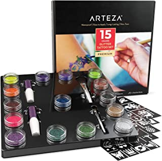 ARTEZA Glitter Tattoo Kit - Body Glitter Tattoo Set Includes 15 Vibrant Colors, 2 Brushes, 2 Glue Applicators and 40 Unique Glitter Tattoo Stencils - Glitter Temporary Tattoos For Kids And Adults