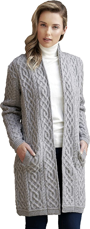 Aran Crafts Women's Cable Knit Celtic Braid Edge to Edge (100% Merino Wool)