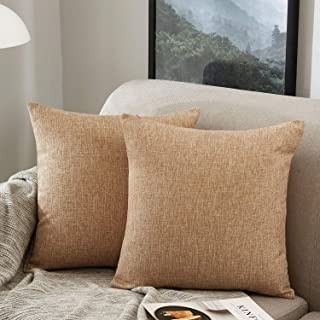 عبوة من 2، غطاء وسادة مزخرف مربع من خليط القطن والكتان، أغطية وسائد، ديكورات منزلية للأريكة والسرير كرسي 22 × 22 بوصة / 55...