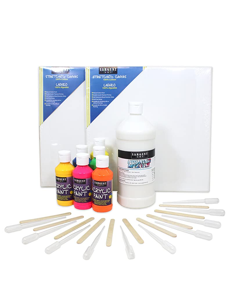 Sargent Art 22-0062 Pouring Medium Paint Kit - Neon Acrylic 6 Colors, 29 Piece