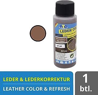 ATG Autozubehör Teile Gerl Farbe für Ledersitze | Leder aufbereiter | Reparaturset für Ledersitze | entfernt Kratzer im Leder | Kunstleder Kratzer entfernen 57ml Braun