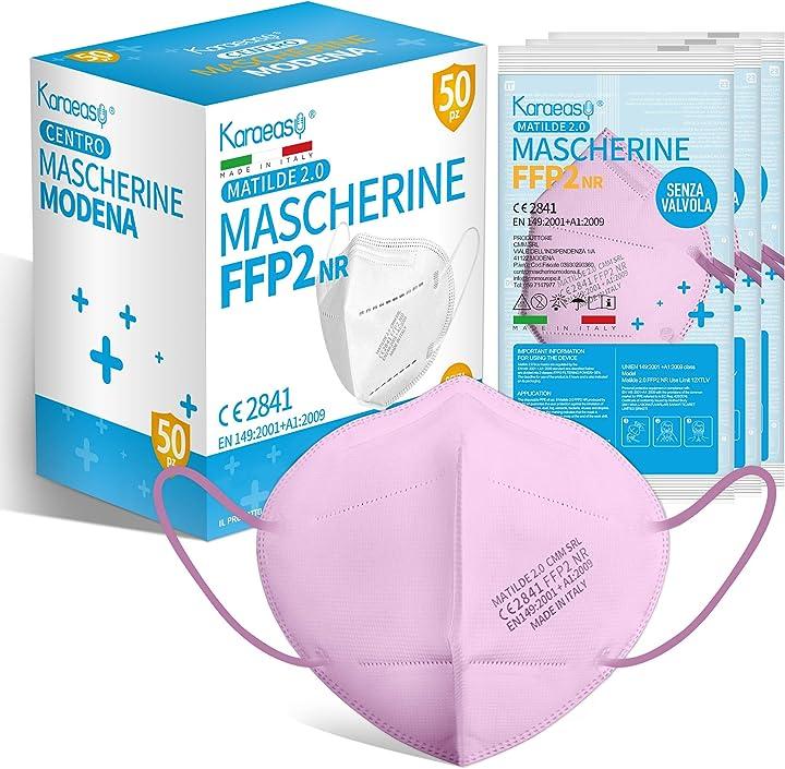 Mascherine ffp2 rosa certificate ce made in italy confezione da 50 pezzi pfe ?95% rosa  karaeasy B091BKBHG2