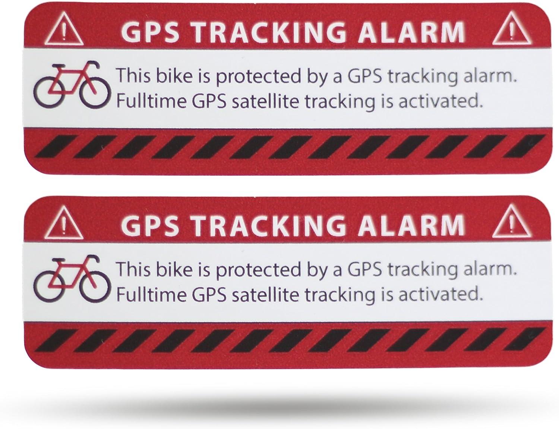Secyourity Gps Alarm Aufkleber Fahrrad 2 Stück Warnaufkleber Premium Qualität 75 Mm X 25 Mm Silber Von Außen Anzubringen Prävention Fahrraddiebstahl Rot 2 Auto