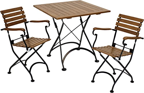 2021 Sunnydaze Essential European Chestnut Wood 2021 3-Piece Folding Bistro Chair and Table Set - Modern Indoor/Outdoor Dark Brown Cafe Table and Chairs high quality Set - Ideal for Patios, Balconies and Kitchenettes online sale