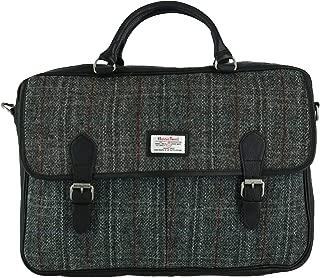 Men's Berneray Harris Tweed and Leather Tartan Briefcase