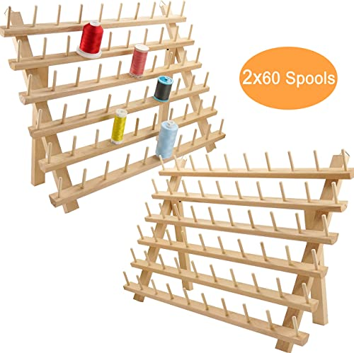 New brothread 2X60 Spools Wooden Thread Rack/Thread Holder Organizer with Hanging Hooks for Sewing, Quilting, Embroid...