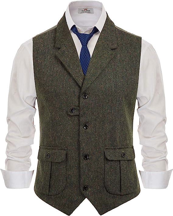 1920s Style Mens Vests PJ PAUL JONES Mens Herringbone Tailored Collar Waistcoat Wool Tweed Suit Vest with Flap Pockets  AT vintagedancer.com