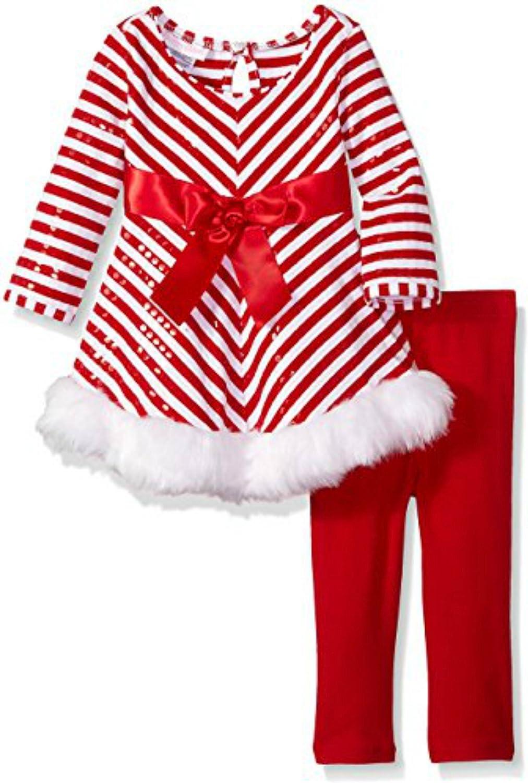 San Jose Mall Bonnie Jean Manufacturer OFFicial shop Little Girls' Miltered Legging Stripe Santa Set.