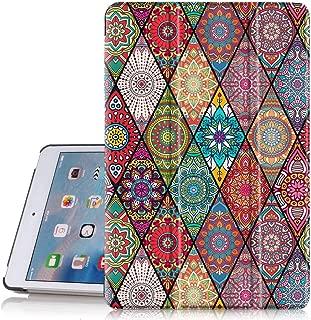 Hocase iPad Mini 5 Case, Folio PU Leather Smart Case w/Unique Flower Design, Auto Sleep/Wake Feature, Microfiber Lining Hard Back Cover for iPad Mini 5th Generation 2019/iPad Mini 4 2015 - Mandala