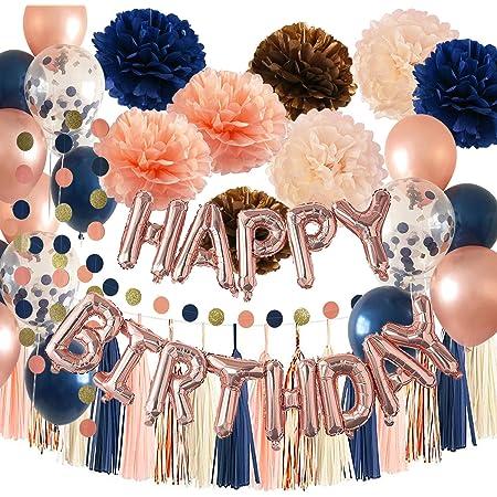 Qian's Party - Globos para fiesta de cumpleaños de oro rosa marino para mujer, color azul marino, dorado rosa, champán, melocotón, azul marino, globos de durazno, globos para mujer 30, 40, 50, 60 cumpleaños