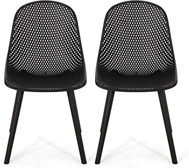 Christopher Knight Home 312458 Darleen Outdoor Dining Chair (Set of 2), Black