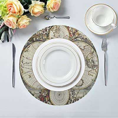 Occasions 10 Pieces Pack Pressed Vinyl Metallic Placemats Wedding Accent Centerpiece Placemat Round Gold Leaf Kitchen Dining