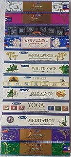 Gift Set of 12 Satya Sai Assorted Popular Insence of Nag Champa Superhit Sandalwood White Sage Seven Chakra Palo Santo Yoga Meditation Natural Rose Natural Jasmine Natural Lavender Natural Patchouli