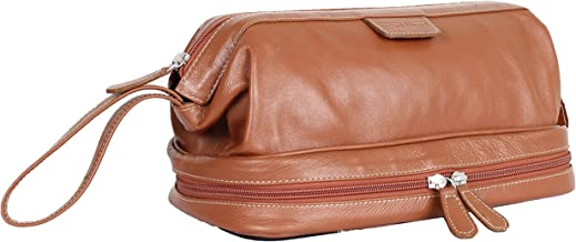Carlucci Leather Deluxe Leather Toiletry Bag with Zip Drop Bottom, Rich Genuine Cowhide, 2 Big Compartments, Heavy Duty Zippers, Pull Handle, Leather Tabs. In Tan