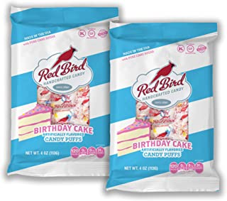 Red Bird Birthday Cake Candy Puffs 4 Oz (2 Pack - 8 Ounces Total) | Gluten Free | Kosher | Free from Top 8 Allergens | Made with 100% Pure Cane Sugar | Melt-in-Your-Mouth | Individually Wrapped Candy