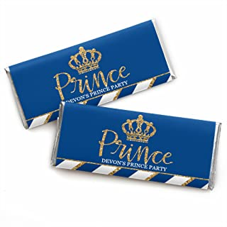 Personalized Royal Prince Charming - Custom Baby Shower or Birthday Party Favors Candy Bar Wrapper - Set of 24