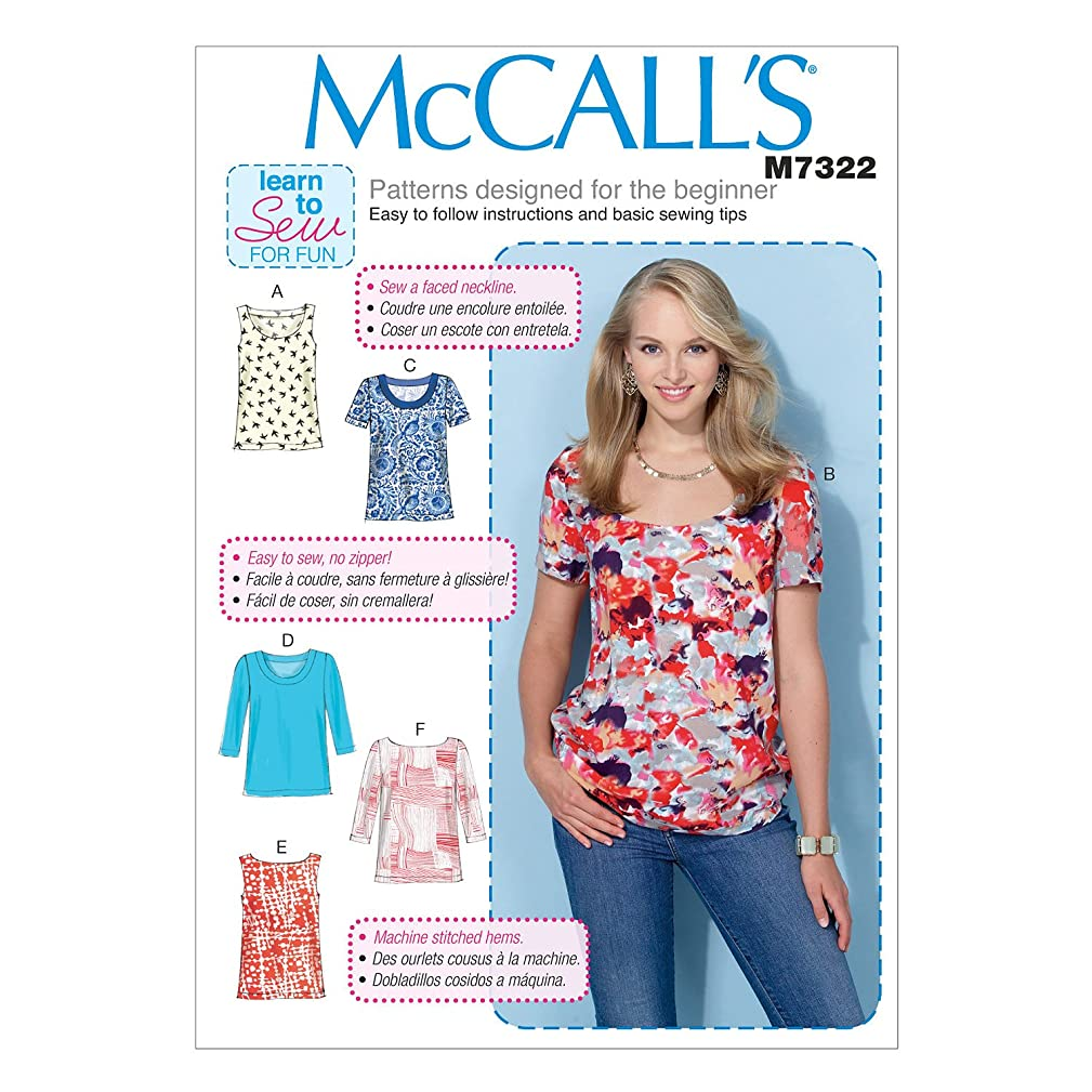 McCall's Patterns M7322 Misses' Pullover Tops, Y (X-Small-Small-Medium)