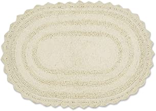 DII Crochet Collection Bath Mat, Small Oval, 17x24, Off White