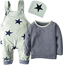 BIG ELEPHANT 3 Pieces Baby Boys' Long Sleeve Shirt Overalls Set with Hat H92A Green 3-6 Months