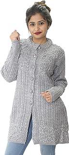 HAUTEMODA Women's Woollen Embroidered Long Cardigan (Ad04Sa01_Peach)