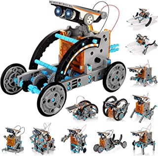 Glowee 12-in-1 Solar Robot STEM DIY Kit, 190 Pieces Robotics Educational Toy Set For Kids, Improve Creativity And Learn Ab...