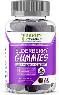 Gevity Vitamins Elderberry Gummies – All Natural's 60 Chewable Gummies – Elderberry Extract (Sambucus Nigra) with Vitamin ...