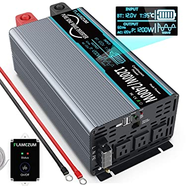 FLAMEZUM Power Inverter Pure Sine Wave 1200Watt 12V DC to 110V 120V with Remote Control Dual AC Outlets and Dual USB Port for CPAP RV Car Solar System Emergency