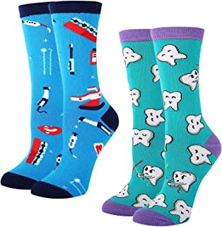 Women's Novelty Crazy Teeth Tool Crew Socks, Funny Dental Tooth Dentist Gift