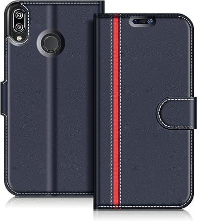 COODIO Custodia in Pelle Huawei P20 Lite, Custodia Huawei P20 Lite, Custodia Portafoglio Cover Porta Carte Chiusura Magnetica per Huawei P20 Lite, Blu Scuro/Rosso
