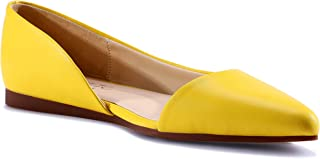 HSYZZY Women Flat Shoes Leather Slip On Comfort Casual Pointed Toe Ballet Flats Yellow