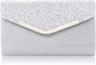 LONGBLE Damen Clutch Glitter Elegante Envelope Tasche, Handtasche Clutch Silber Glitzer Abendtasche mit abnehmbarer Kette ...