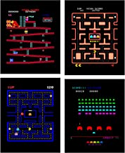 Insire Arcade Classics Poster Prints | Set of Four 8x10 Video Game Wall Decor | Play Screen Art | Gaming Posters