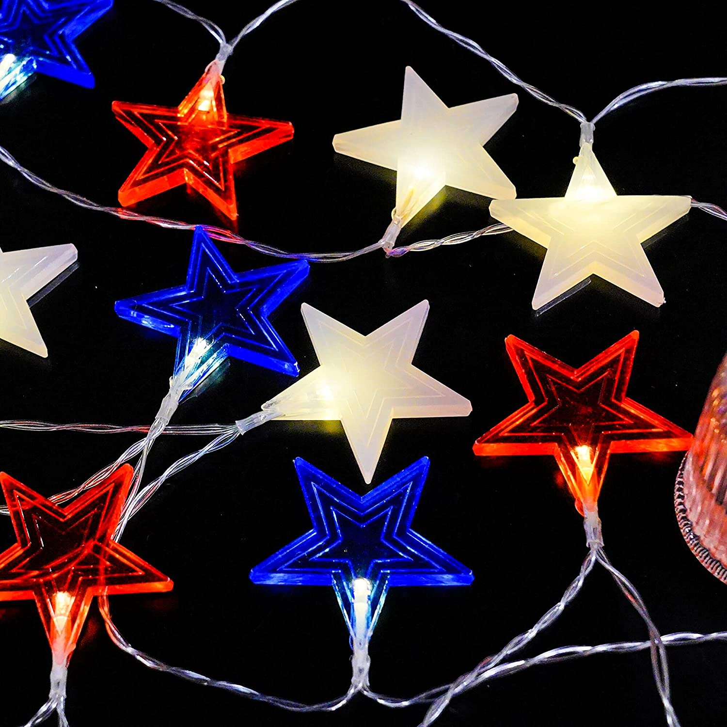 Funpeny Independence Day String Lights, 18 LED 9.5 Feet American Stars String Lights for July 4th Day, Battery Operated Patriotic Memorial Day 4th of July Red White and Blue Decor