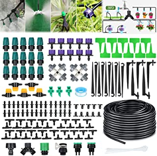 Jeteven 131ft/40m Drip Irrigation Hydroponics Supplies System Drippers Kit Tubing Accessories Tree Watering Automatic Plan...